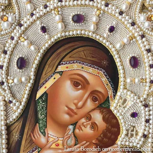 High Relief Bead Embroidery on an Icon Frame via Mary Corbet