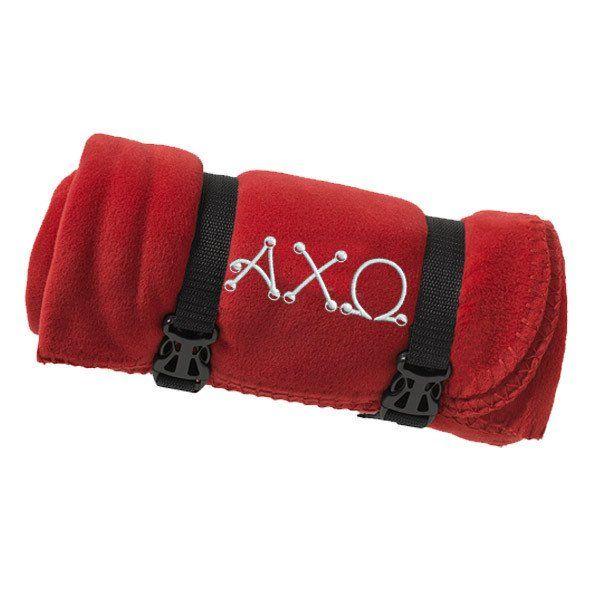 Alpha Chi Omega Fleece Blanket - Port and Company BP10 - EMB