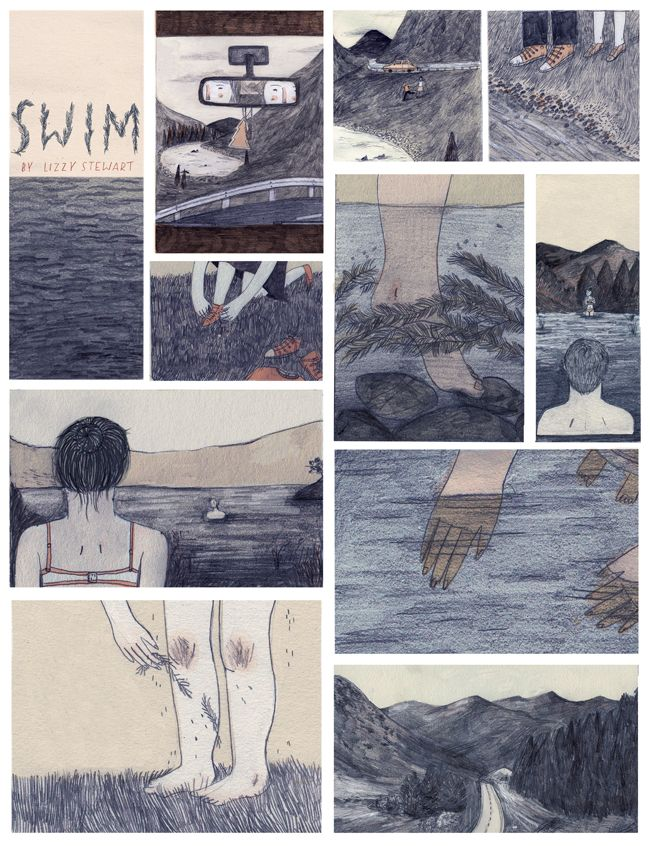 Swim- a single page comic about swimming in a Scottish Loch. By Lizzy Stewart
