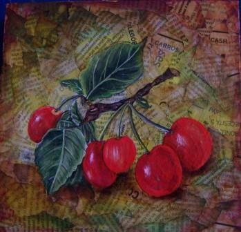 Cuadro para cocina con fondo de papel periódico y pintado con pátinas, la fruta pintada con acrílicos en JuliartexPerú