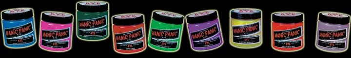 Manic Panic Semi-Permanent Hair Dye --- cool!  Lots of bright colors, no animal testing, vegan ingredients.