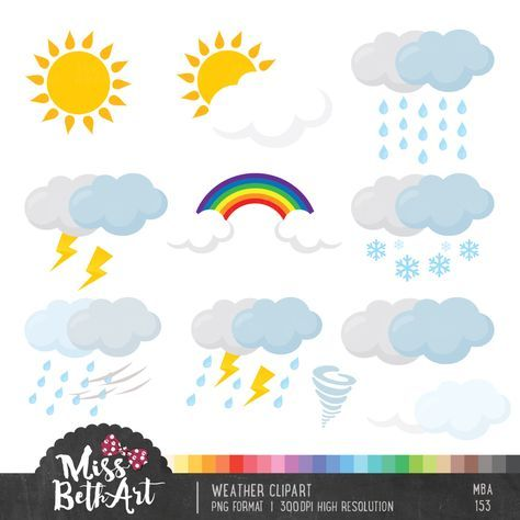 Weather Clipart - Instant Download by Missbethart on Etsy https://www.etsy.com/listing/449160472/weather-clipart-instant-download