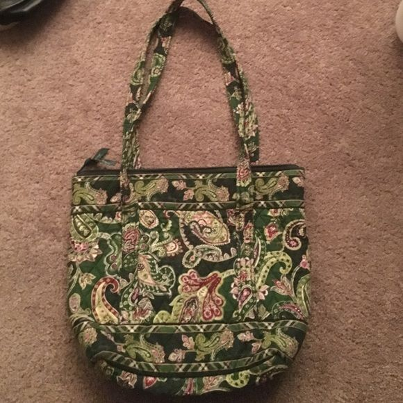 Vera Bradley Tote Bag Tote bag from Vera Bradley in retired color Chelsea Green. Adorable paisley pattern with greens and pinks. Vera Bradley Bags Totes