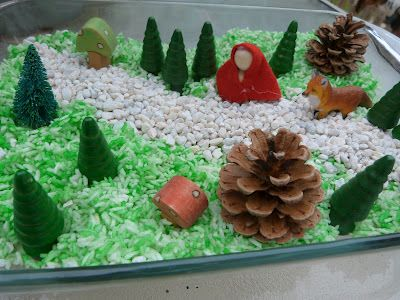 Little Red Riding Hood Sensory Bin - cute sensory bin. Would be a good way to use all those wooden trees I have from train sets