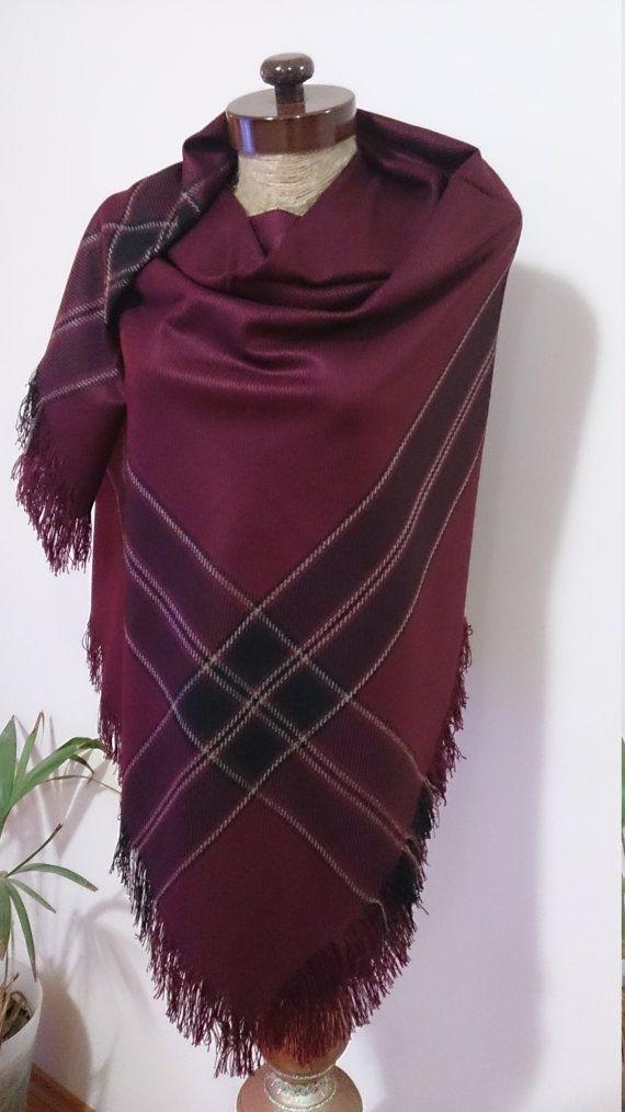 Burgundy Plaid Blanket scarf, Plaid scarf, Winter fashion, blanket scarves, oversized, For Men, For Her, blanket Christmas SALE WAS 29