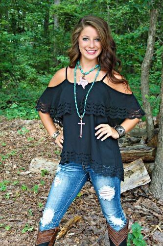Voom: Celeste Babydoll Top - Black $69.99 #SouthernFriedChics