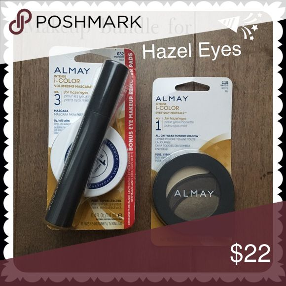 ALMAY Makeup Bundle for Hazel Eyes Mascara +Shadow Brand new! This bundle includes intense I-color mascara in midnight for hazel eyes + bonus eye makeup remover pads.  And Intense I-color all day wear powder eye shadow for hazel eyes. All full size! almay Makeup Eyeshadow