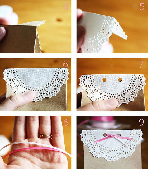 Kraft Paper Favor Bags with Doilies