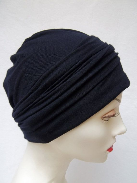 Summer Slouch Chemo Hat Navy Midnight Bamboo Jersey by NinisNiche, $40.00