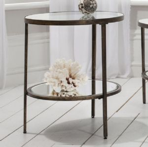 Temperley Bronze Round Glass Side Table