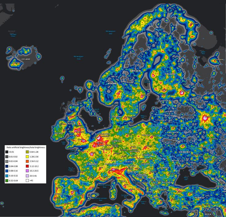Light pollution map of Europe.