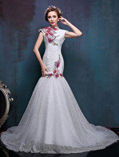 2016 Alta Del Cuello Apliques Flores De Colores Del Vestido De Boda De La Sirena Mejorado Cheongsam