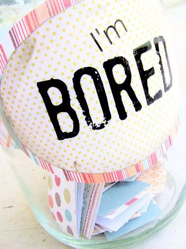 """I'm Bored"" Jar--inside place ideas for activities the kids can do when they say they're bored. She has printables including everything from ""Eat a Vegetable"" to ""Run an Obstacle Course."" Great idea!"
