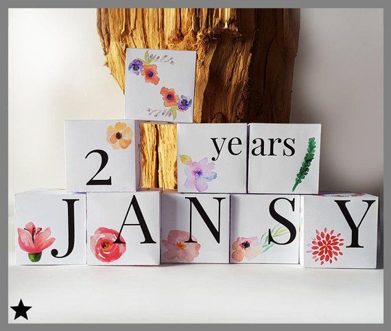 Baby Name Blocks, 3D Printable Paper, Floral Nursery Decor
