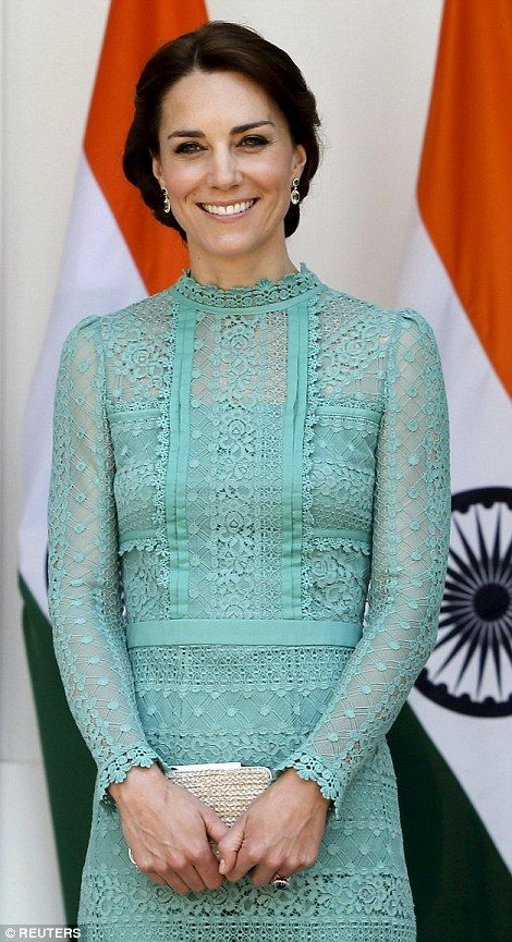 The Duchess of Cambridge smiles during a photo opportunity at Hyderabad House in New Delhi