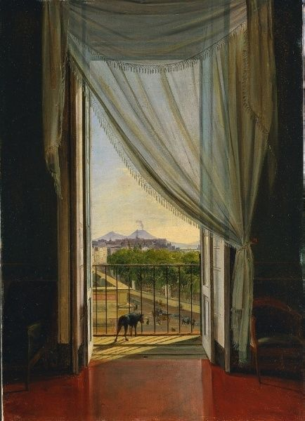A View of Naples through a Window, 1824 - Franz Ludwig Catel (German, 1778-1856)  oil on paper