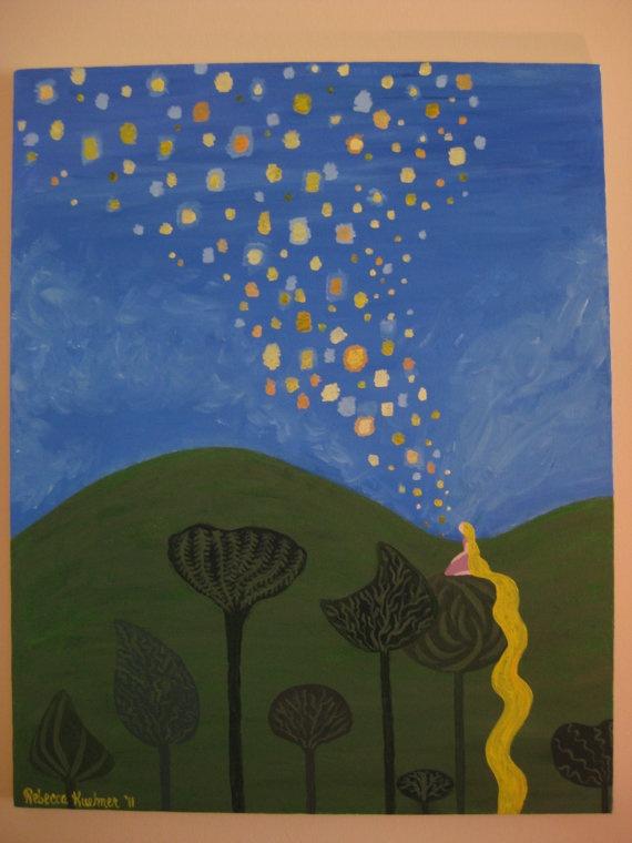 Tangled Floating Lanterns Painting. $60.00, via Etsy.