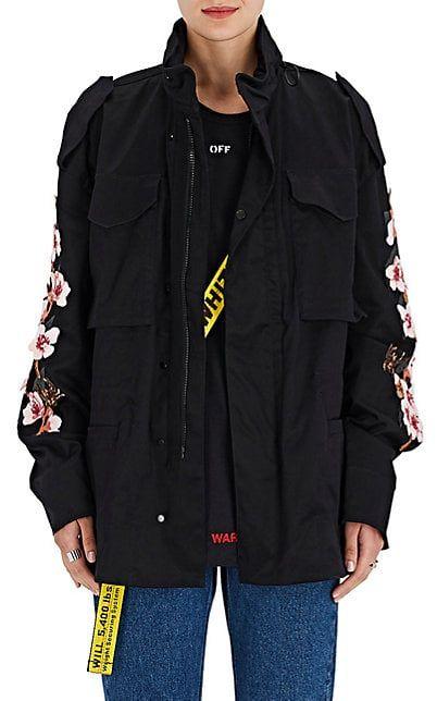 Off-White c/o Virgil Abloh Cherry-Blossom-Appliquéd Stretch-Cotton Jacket - Jackets - 505165875