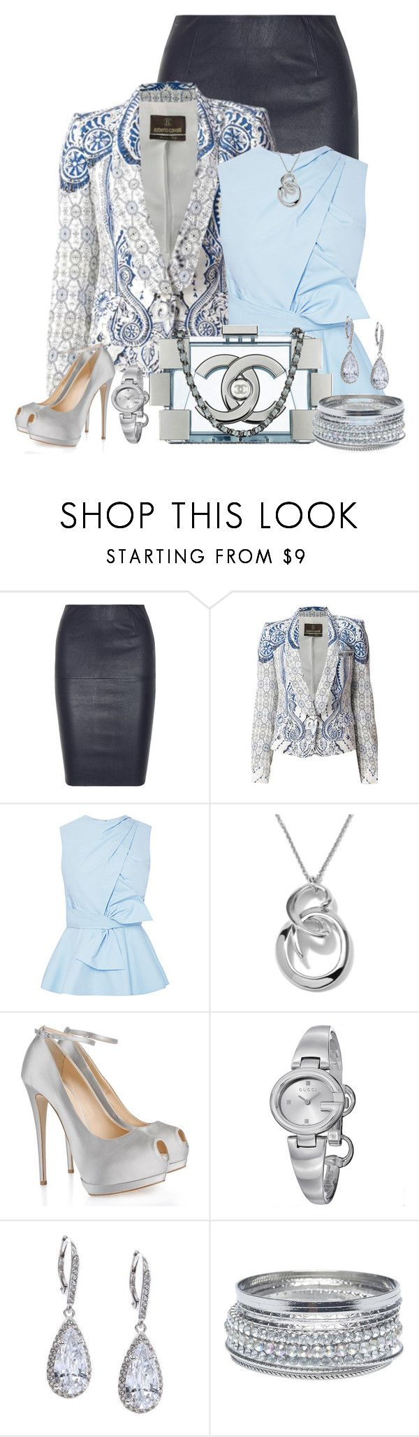 """""""Silver & Blue"""" by stay813 ❤ liked on Polyvore featuring By Malene Birger, Roberto Cavalli, Prabal Gurung, Ippolita, Giuseppe Zanotti, Gucci, Judith Jack, Chanel and Wet Seal"""