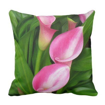 Pretty Pink Arum Flowers on Green Background Throw Pillow - pink gifts style ideas cyo unique