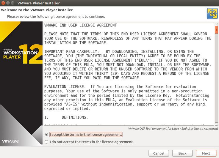 Accept The Vmware Ovf Component For Linux End User License
