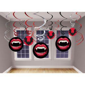 648 - Vampire Hanging Swirls. Pack of 12 Hanging Decoration Swirls Vampire with Cutouts (Swirls with Cutouts are 60cm Long, Swirls only are 45cm Long) - Pack of 12