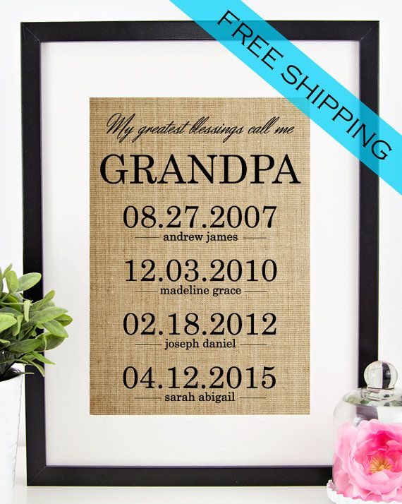 Personalized Father's Day Gift for Grandfather | Grandpa Gift | Fathers Day Burlap Print | Grandchildren Birth Dates Wall Art