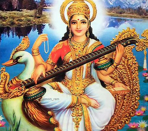 Saraswati, goddess of knowledge, music and all the creative arts
