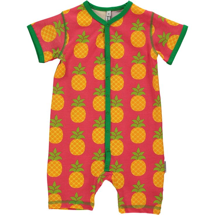 Pineapple rompersuit from Maxomorra, made from 100% Organic Cotton. Sweatshop free ethical and sustainable fashion. From Maxomorra, available at Modern Rascals.