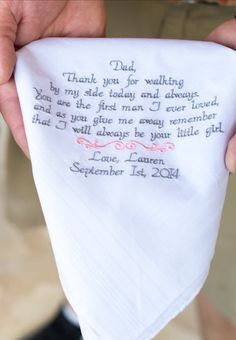 Gift for Dad, Wedding Gifts, Embroidered Wedding Handkerchief, Wedding Gift for Father of the Bride, Personalized Custom Gifts,
