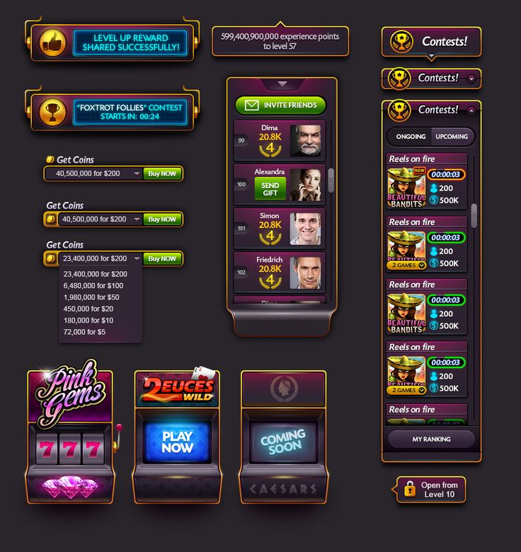 UI elements for a new Caesars Casino facebook game lobby