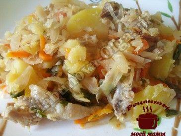 Овощное рагу с капустой (свежей и квашеной), картофелем и ребрышками
