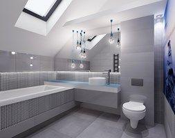 Projekt łazienki z nuta błekitu - Duża łazienka na poddaszu w domu jednorodzinnym z oknem, styl minimalistyczny - zdjęcie od All Design Agnieszka Lorenc