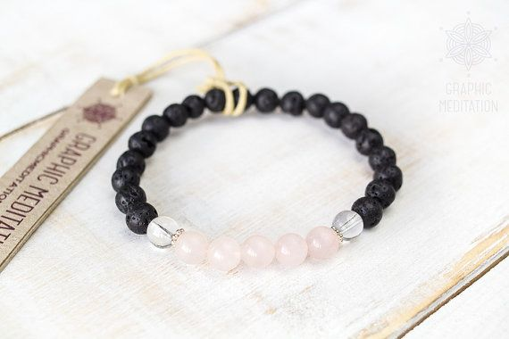 Black lava bead bracelet Silver Clear and by GraphicMeditation