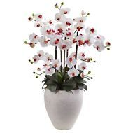 SILK ORCHIDS PHALAENOPSIS ORCHID WITH WHITE  PLANTER SILK FLOWERS