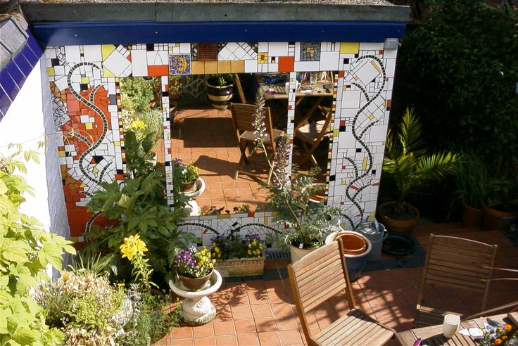 My old back yard in York. Pique assiete mosaic (2004)