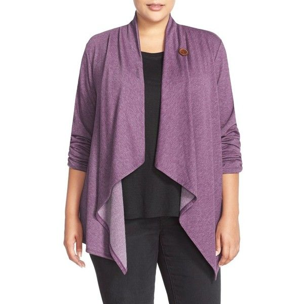 Plus Size Women's Bobeau One-Button Fleece Cardigan ($45) ❤ liked on Polyvore featuring plus size women's fashion, plus size clothing, plus size tops, plus size cardigans, h purple, plus size, women's plus size tops, fleece wrap cardigan, plus size wrap top and fleece tops