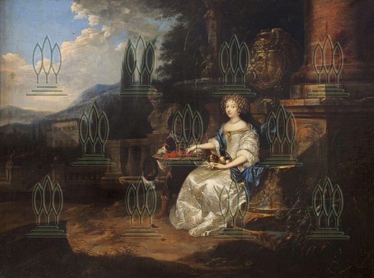 Dame im Park (Liselotte von der Pfalz) Abb. ohne Rahmen [Schloss Großkühnau]