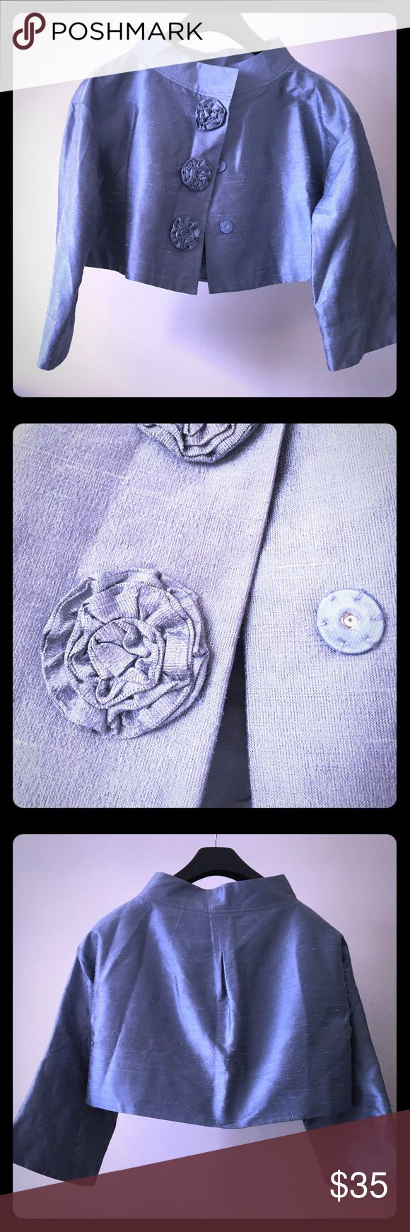 Ellen Tracy SIlk Jacket Silk Shantung crop with rosette buttons. Stunning jacket in pale blue. Never worn. Ellen Tracy Jackets & Coats