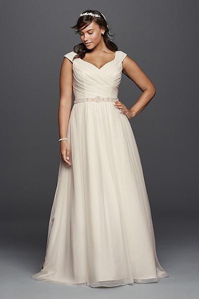 plus size wedding dress - Davids Bridal Woman Tulle A-line Plus Size Wedding Dress with Sash Style