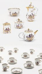 A MEISSEN CHINOISERIE PART TEA AND COFFEE-SERVICE  CIRCA 1735, BLUE CROSSED SWORDS MARKS, THE TEACADDY WITH PUCE ENAMEL CROSSED SWORDS, VARIOUS DREHER'S MARKS Price realised  GBP 114,500 USD 234,725 Estimate GBP 50,000 - GBP 80,000 (USD 102,500 - USD 164,000)