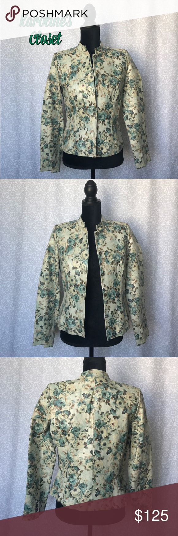 Leather Jacket with Blue and Tan Roses 100% Leather, distressed vintage inspired, women's small, Studio 512, comparable to Wilsons Leather, leather jacket with blue and tan roses. Small Gorgeous jacket and excellent condition, only flaw is a small run on the inside lining as pictured!! Studio 512 Jackets & Coats