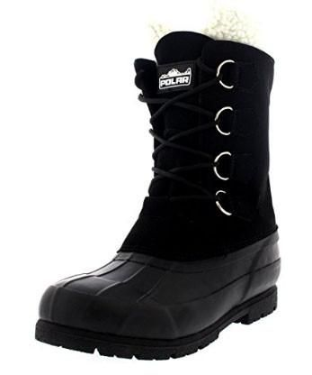Polar Mens Wool Lined Rubber Duck Sole Boot