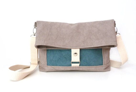 Waxed canvas Messenger bag Sand by marabaradesign on Etsy