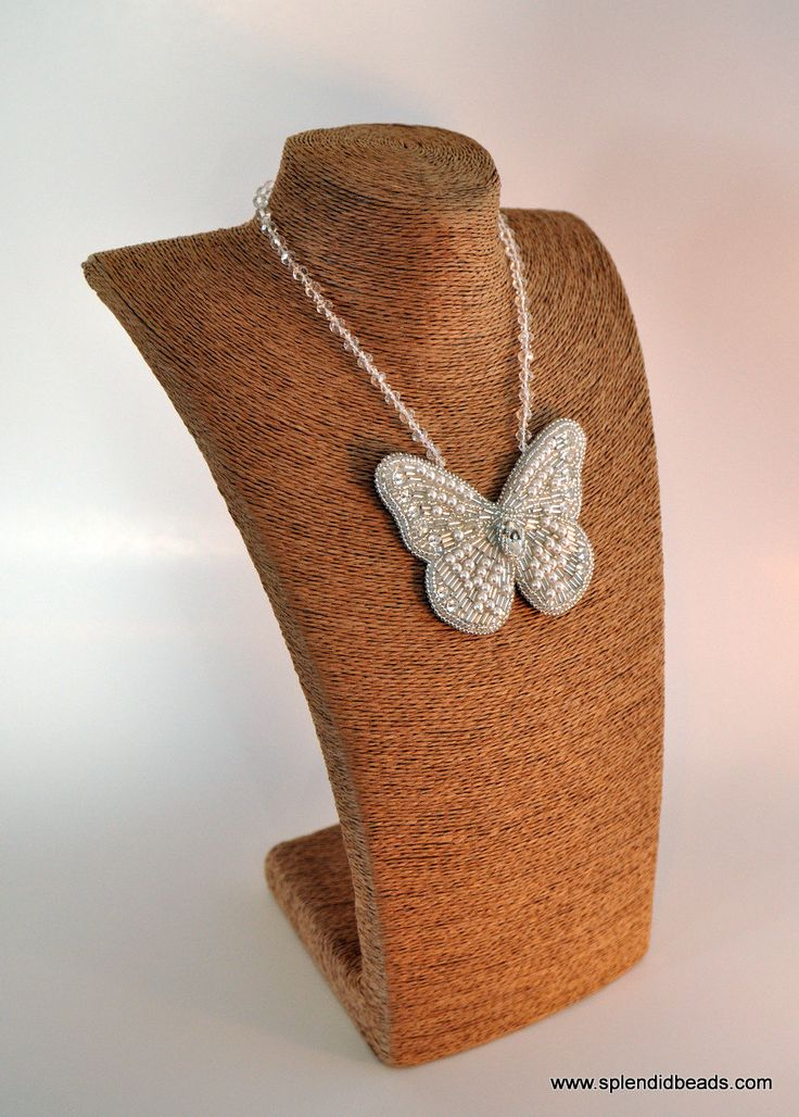 #BeadEmbroidery #Necklace - White #Crystal #Butterfly - Bead Embroidered - #Handmade #Jewelry - #Swarovski Elements -  #Etsy