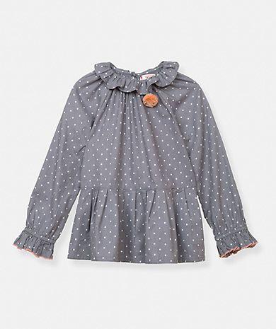 Blusa fruncida con estampado de lunares y pompón Camisas Niña Niños (2-6 años) | Túnicas Niña Niños (2-6 años) | LANIDOR.COM - Mobile Shop Online