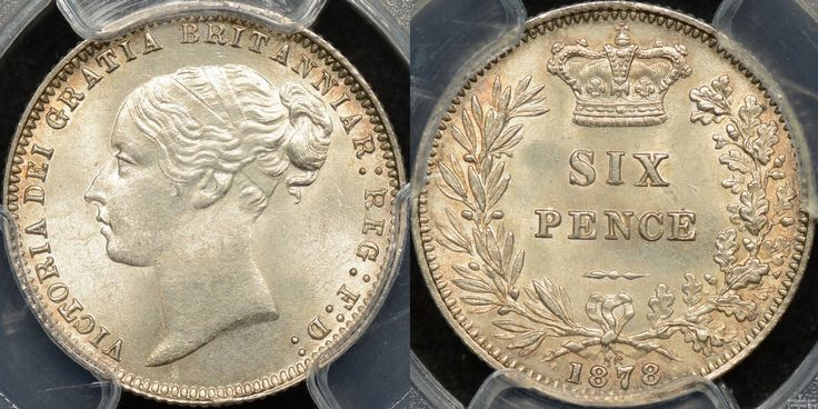 Great Britain 1878 Sixpence MS65 http://www.thepurplepenny.com/1479,great-britain-1878-sixpence-6d-km-751.1-pcgs-ms65-gem-uncirculated.html