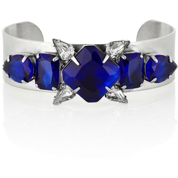 Noir Jewelry Silver-plated crystal cuff found on Polyvore