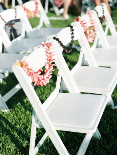 Leis on each of the guests' chairs