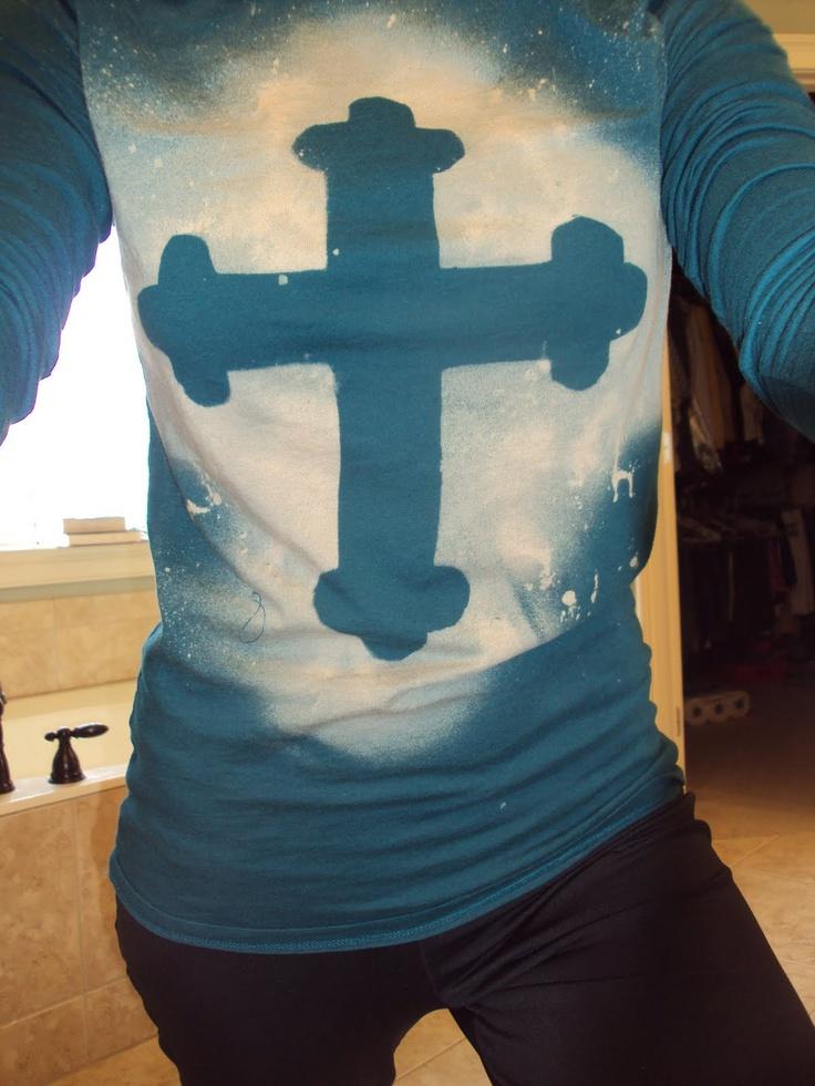 Best 25 cross shirts ideas on pinterest youth group for Bleach dye shirt instructions